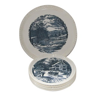Currier & Ives Blue Transfer Ware Dessert Plates - Set of 5