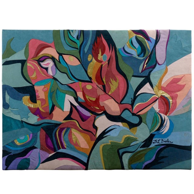Colorful Suede Art Textile by B.L. Fisher - Image 1 of 6
