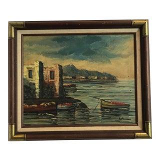 """Vintage Mid-Century """"Harbor Scene"""" Oil Painting on Canvas"""