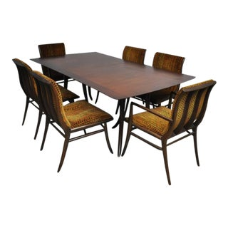 T.H. Robsjohn-Gibbings Dining Set, Table with Six Chairs