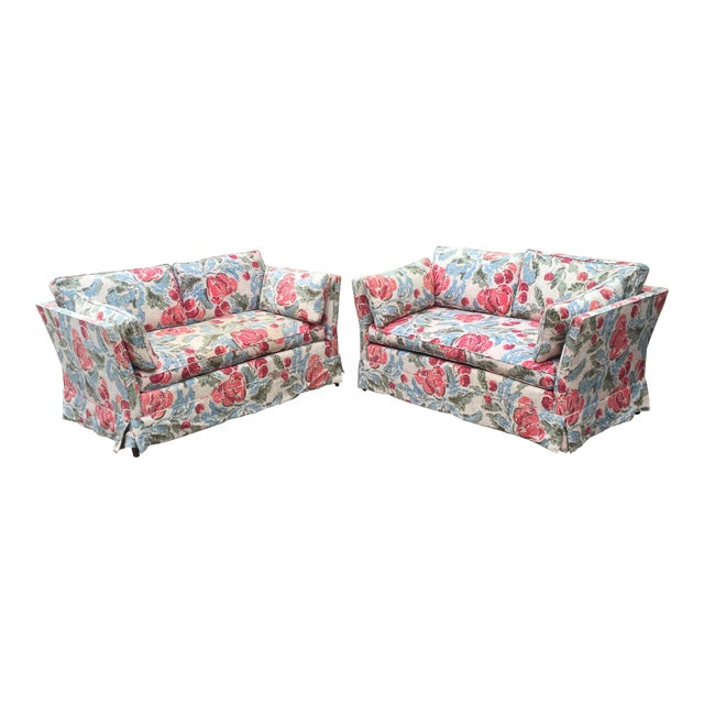 Vintage Mid-Century Modern Floral Love Seats - a Pair - Image 1 of 11