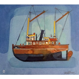 """Marina Blue"" Watercolor Painting"