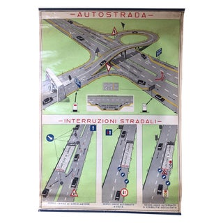 Vintage Italian Poster Chart of the Autostrada