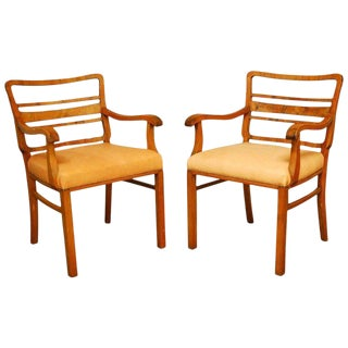 Mid-Century Mahogany and Leather Library Chairs - A Pair