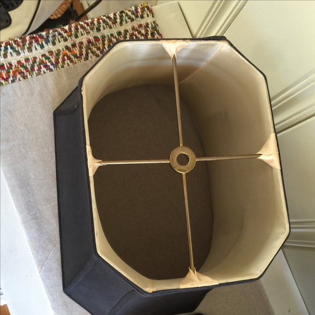 Mid-Century Black Silk Lamp Shades - A Pair - Image 6 of 11