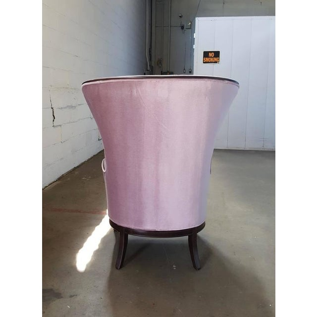 Mid-Century Modern Lilac Mohair & Mahogany Wingback Chair - Image 7 of 8