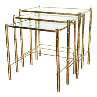 Brass Bamboo Nesting Tables - Set of 3