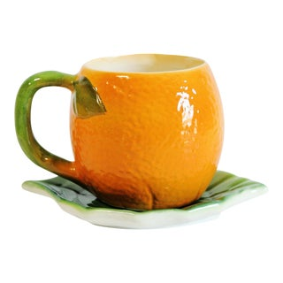Majolica Orange Cup and Leaf Saucer