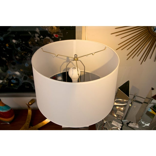 Mid-Century Modern Silver Banded Table Lamp - Image 5 of 6