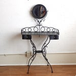 Image of Vintage Black Iron Vanity and Mirror