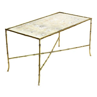 Maison Bagues French Brass Bamboo Mid-Century Modern Coffee Table-Antique Mirror