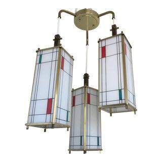 Mid-Century Mondrian Style Chandelier