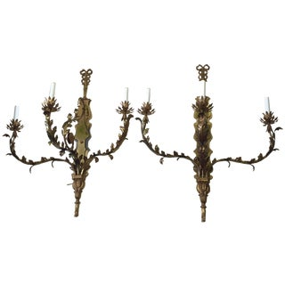 Huge Antique Continental Brass Wall Sconces ~ Pair