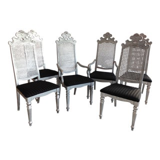 Vintage Thomasville Gothic Cane Dining Chairs - Set of 6