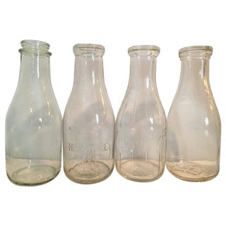 Vintage Milk Bottles - Set of 4