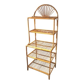 Vintage Rattan Bamboo Etagere