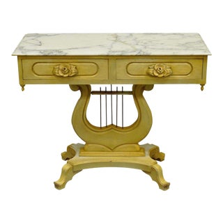 Vintage Victorian Painted Marble Top Lyre Harp Base Console Table