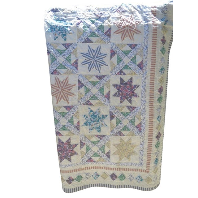 Vintage Feedsack Star Quilt - Image 1 of 8