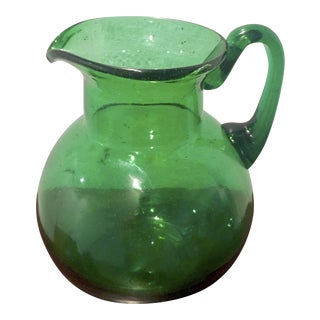 Fenton Emerald Green Glass Ball Pitcher