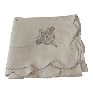 Italian Linen Original Tablecloth With Embroidered Designs