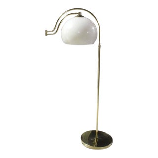 Fully Adjustable Mid Century Modern Brass Base Floor Lamp Globe Shade