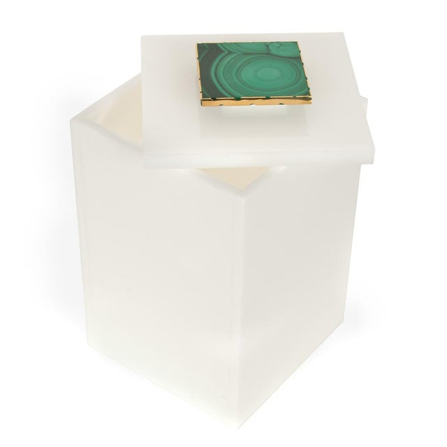 Tall White Box With Malachite Top - Medium - Image 2 of 3