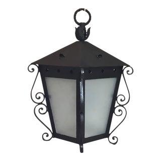 Mizner Style Vintage Black Hanging Lantern