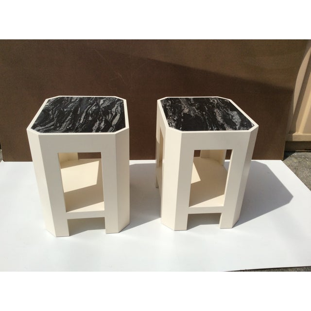 Black Marble Top Side Tables - A Pair - Image 2 of 11
