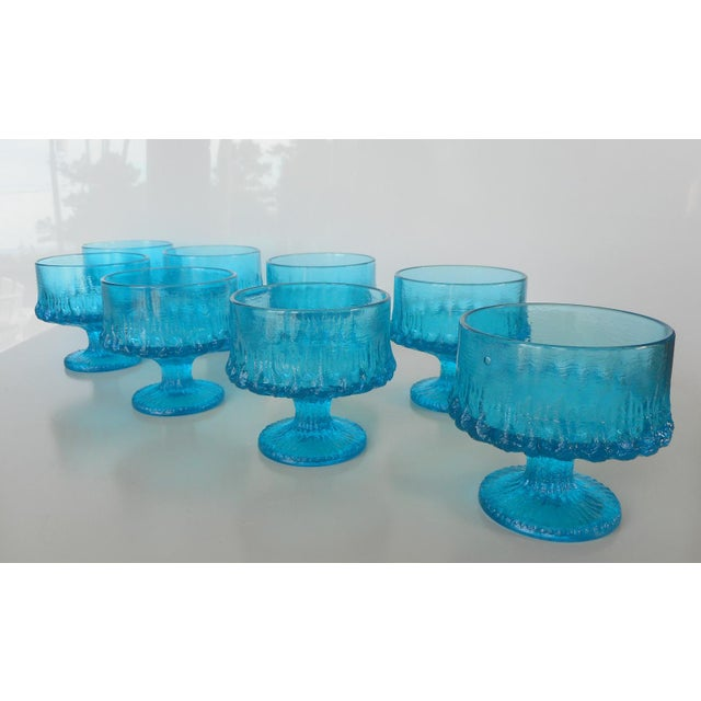 Vintage Turquoise Blue Textured Glass Sherbets - Set of 8 - Image 5 of 7