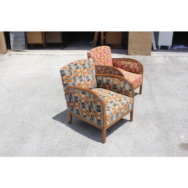 Image of French Art Deco Sold Mahogany Speed Armchairs - A Pair