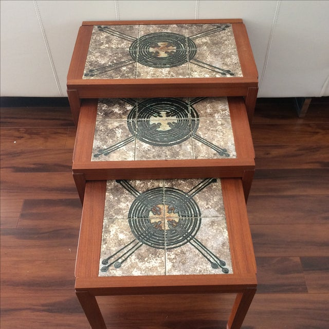 Danish Modern Gangso Mobler Tile Nesting Tables - Image 2 of 8