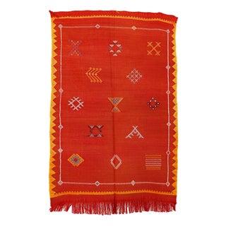 """Red Vintage Moroccan Cactus Silk Rug - 3'0"""" X 4'7"""""""
