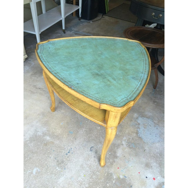 French Provincial Leather Top Side Table - Image 7 of 8