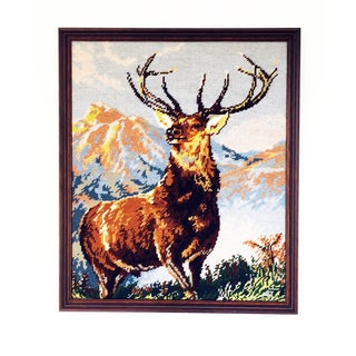 Vintage Elk Portrait Needlepoint Wall Hanging