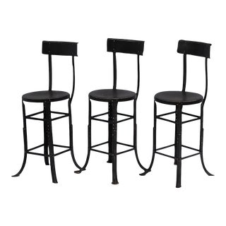 Early 20th C. French Industrial Iron Stools - Set of 3
