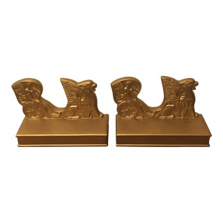 Gold Plaster Egyptian Chariot Bookends - A Pair