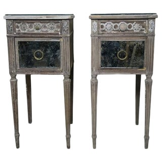 Painted & Mirrored Side Tables - A Pair