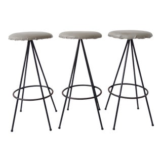 Vintage Mid Century Modern Bar Stools - Set of 3