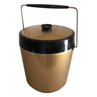 Midcentury Gold Thermal Ice Bucket