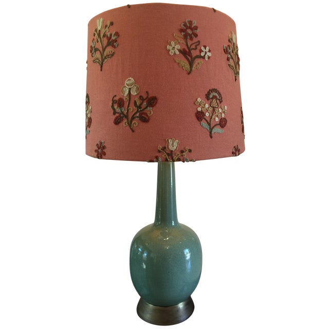 Vintage Celadon Lamp with Crewel Shade - Image 1 of 4