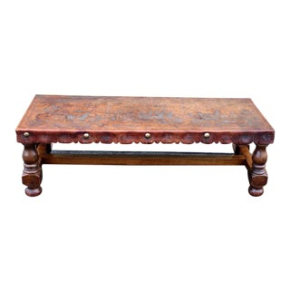 Hand Tooled Leather Bench/Table
