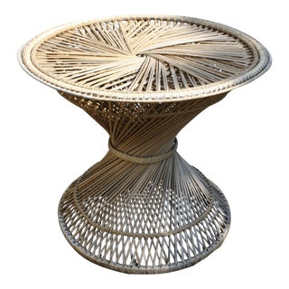 Vintage Hourglass Rattan Side Table