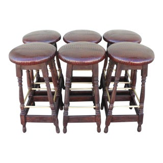 Set of Six Mid-Century Bar Stools Upholstered in Faux Alligator Leather