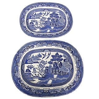 Set of 2 Antique Blue Willow Platters