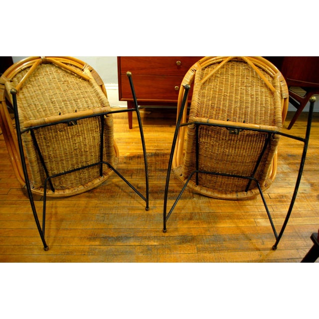 Midcentury Rattan and Wicker Rockers- A Pair - Image 7 of 11