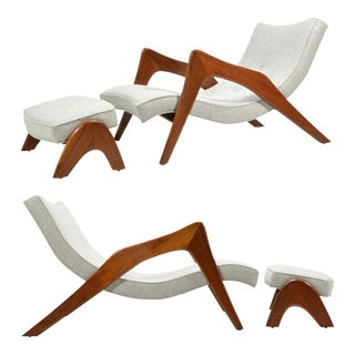 Adrian Pearsall Pair of Crescent Lounge Chairs and Ottomans