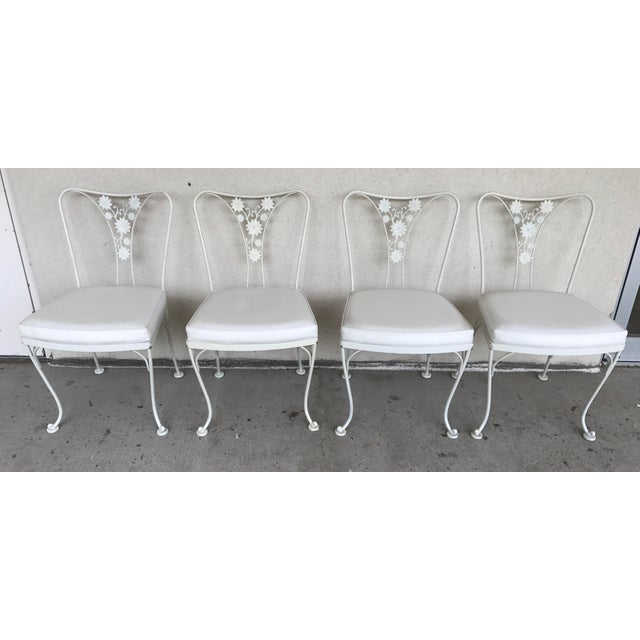 Vintage Woodard Wrought Iron Patio Chairs - Daisy Floral - Set of 4 - Image 2 of 8