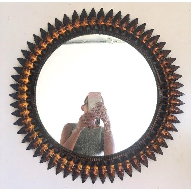 Mid-Century Spanish Sunburst Round Copper Mirror, 1950s - Image 5 of 5