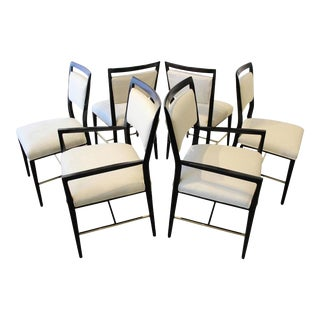 Paul McCobb Microsuede & Brass Dining Chairs - Set of 6