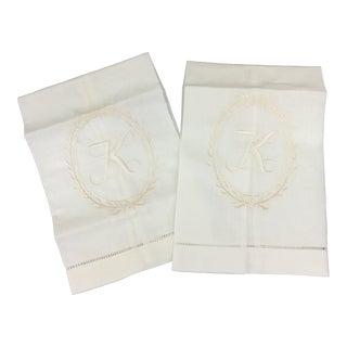 Initial K Linen Towels - A Pair